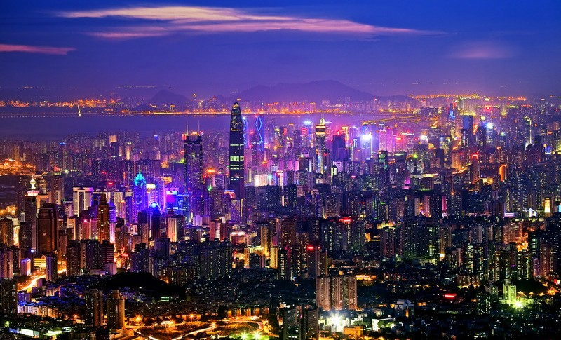 """Night view of Shenzhen city in south Chinas Guangdong province, 15 June 2011. """